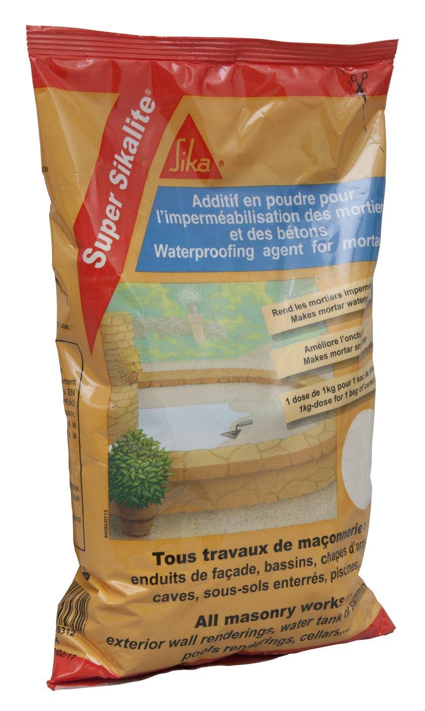 Blanc 1kg Additif en poudre pour imperm/éabiliser les mortiers et b/étons Super Sikalite