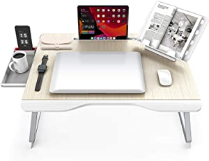 Extra-Large Laptop Desk, SAIJI Folding Bed Tray Table for Writng/Working/Gaming/Eating, Lap Desk with Bookstand, Tablet Stand, Storage Drawer for Floor|Sofa (Teak)