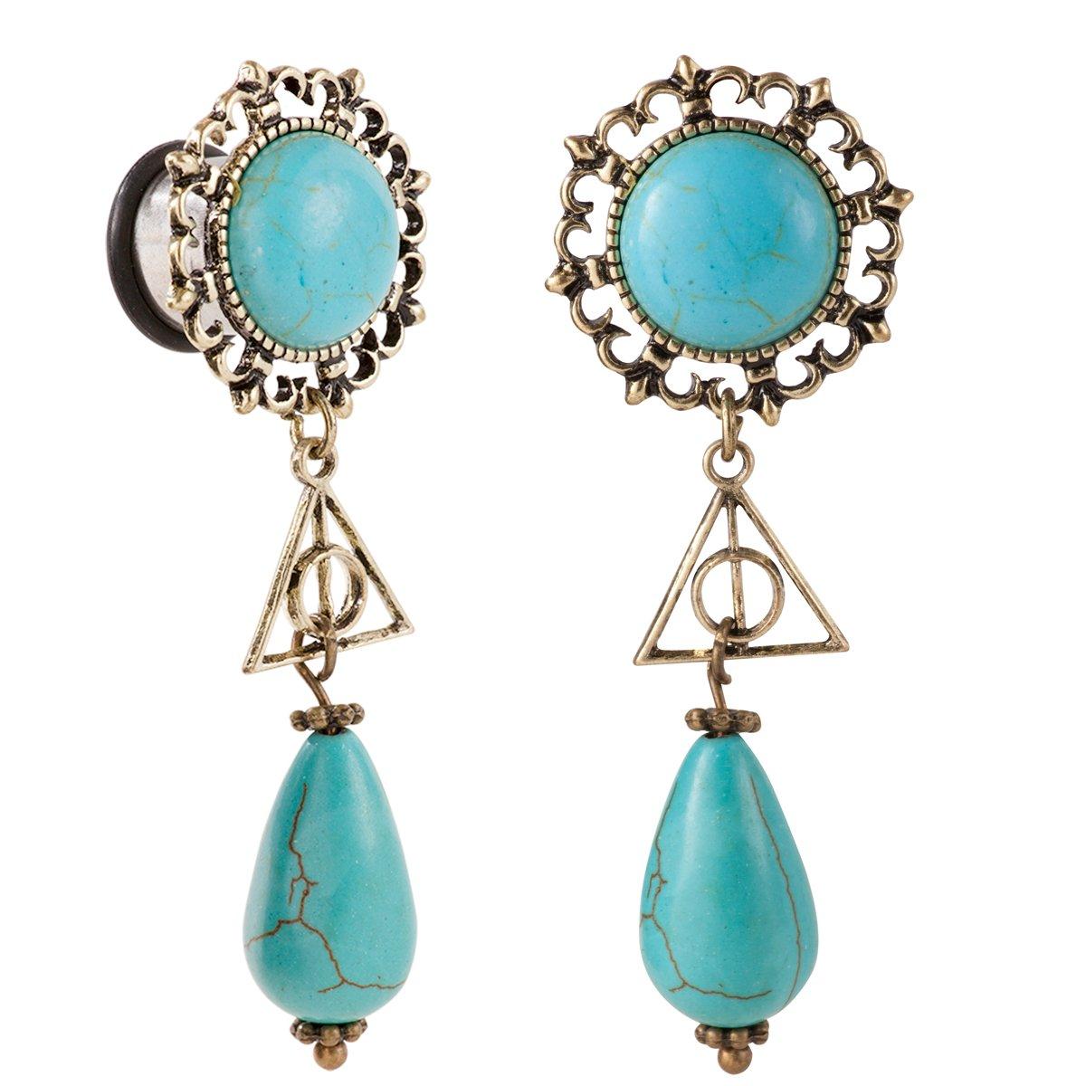 Bigbabybig Turquoise Ear Gauges 9/16 Dangle Earrings Plugs Tunnels Body Piercing Jewelry for Women