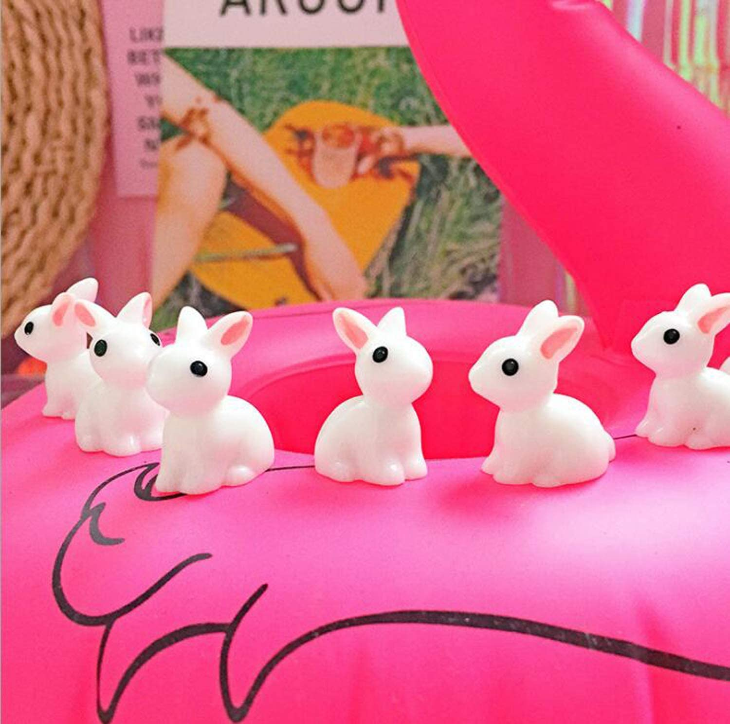 Smilesky Miniature Bunny Figure Animal Rabbit Toys Fairy Garden Party Decorations White 0.8 Pack of 20
