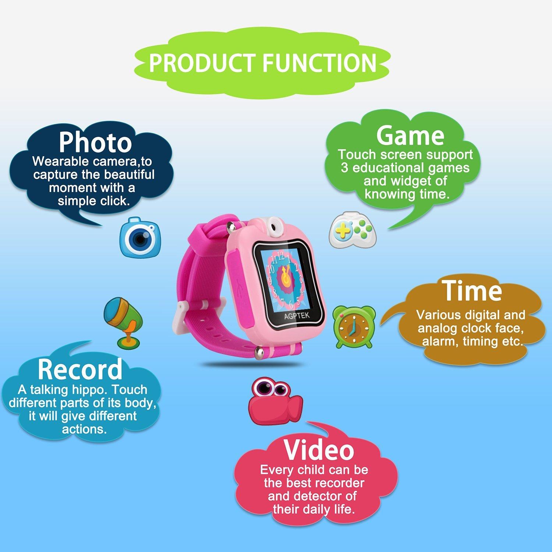 Smartwatch para Niños 4-9 Años, Reloj Táctil Multifunción con Rotación Cámara, Juegos, Temporizador, Despertador de AGPTEK, Color Rosa: Amazon.es: Juguetes ...