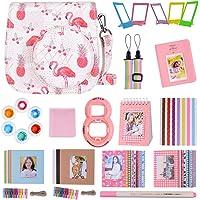 Goocor 15 en 1 Instax Mini 9 Accessoires pour Appareil Photo Fujifilm Instax Mini 9/Mini 8/Mini 8+,Comprend Mini Case 9,Albums,Bandoulière Arc-en-Ciel,Lentille Selfie,Stylo ETC (Flamingo Ananas)