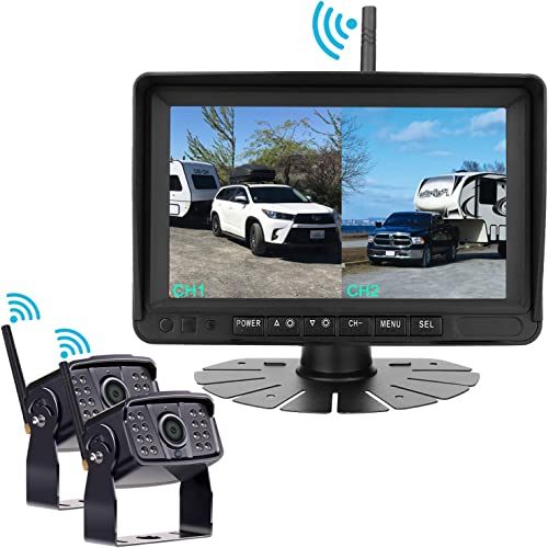 Digital Wireless Dual Backup Camera HD 1080P 2019 Vision 7 DVR Monitor Kit for RVs,Trucks,5th Wheels Support Split Quard View Screen High-Speed Observation System IP69K Waterproof Driving Reverse