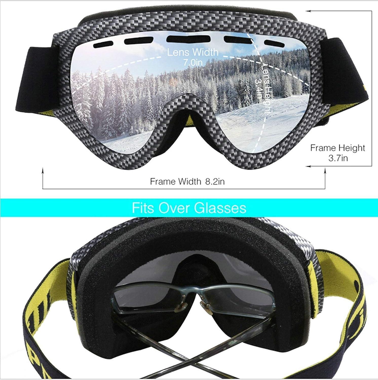 Adatti sopra Gli Occhiali Abellale occhialini da Sci per Adulti cilindrici antinebbia a Doppia Lente per Donne e Uomini