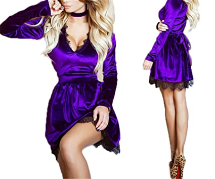 COOCOl New Spring Newly Style Women Lace Velvet Dress Halter Deep V-Neck Long Sleeve