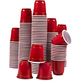 Plastic Shot Glasses – 150-Pack 2.5 Oz Disposable Party Cups, Mini Shooter Glasses for BBQ, Frat, College Graduation Parties, Tailgate Parties, Red – 2 x 2 x 2 Inches