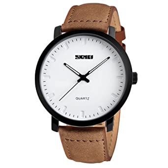 c7994a14e Casual Mens White Face Watch with Brown Leather Band - Simple Fashion Dress  Wrist Analog Quartz