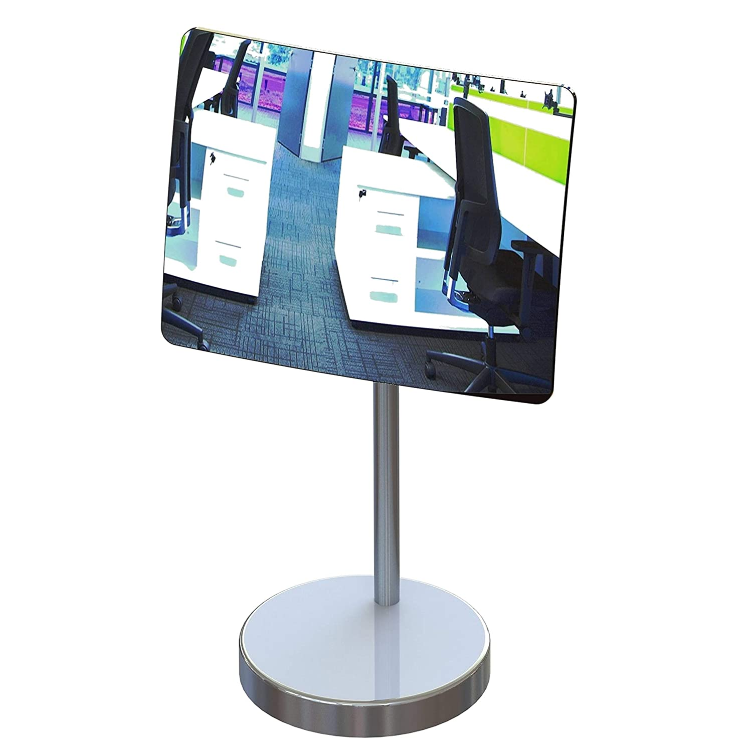 Desk and Cubicle Mirror to See Behind You, Silver Stand with Detachable Wide Angle Real Glass Mirror, Small & Discrete, Beautiful Design, Perfect Curvature for an exceptionally Clear View