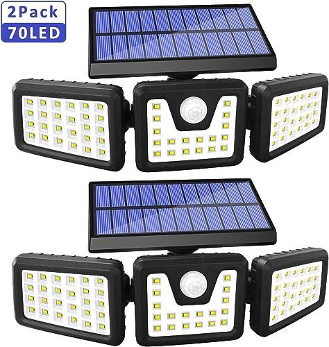 Solar Lights Outdoor Motion Sensor, 3 Adjustable Heads Solar Motion Sensor Light Outdoor, IP65 Waterproof Security Lights 270 Wide Angle Flood Lights for Porch Garden Patio Yard Garage, 2 Pack