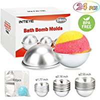Inteye 24-Piece DIY Bath Bomb Mold Kit with 100 Shrink Wrap Bags