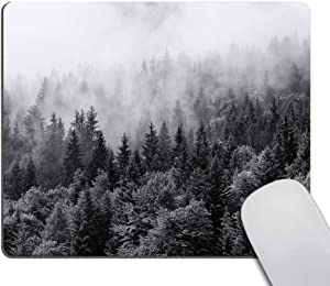 Smooffly Custom Original Nature Series Mouse Pad Misty Forests of Evergreen Coniferous Trees in an Ethereal Landscape
