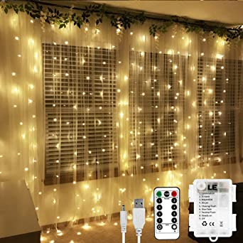 Le Curtain Fairy Lights With Remote Battery Or Usb Powered 3mx3m 300 Led Warm White Christmas Lights 8 Modes Timer Indoor Outdoor String Lights