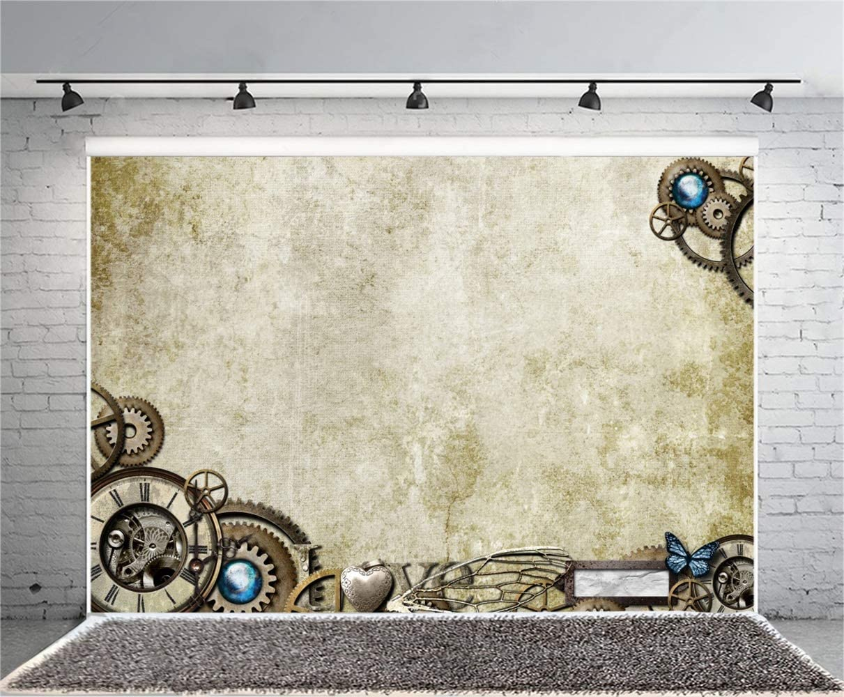 10x7ft Steampunk Theme Vinyl Photography Background Retro Abstract Wall Old Metallic Gears Backdrop Child Adult Artistic Portrait Shoot Nostalgia Wallpaper Studio Props