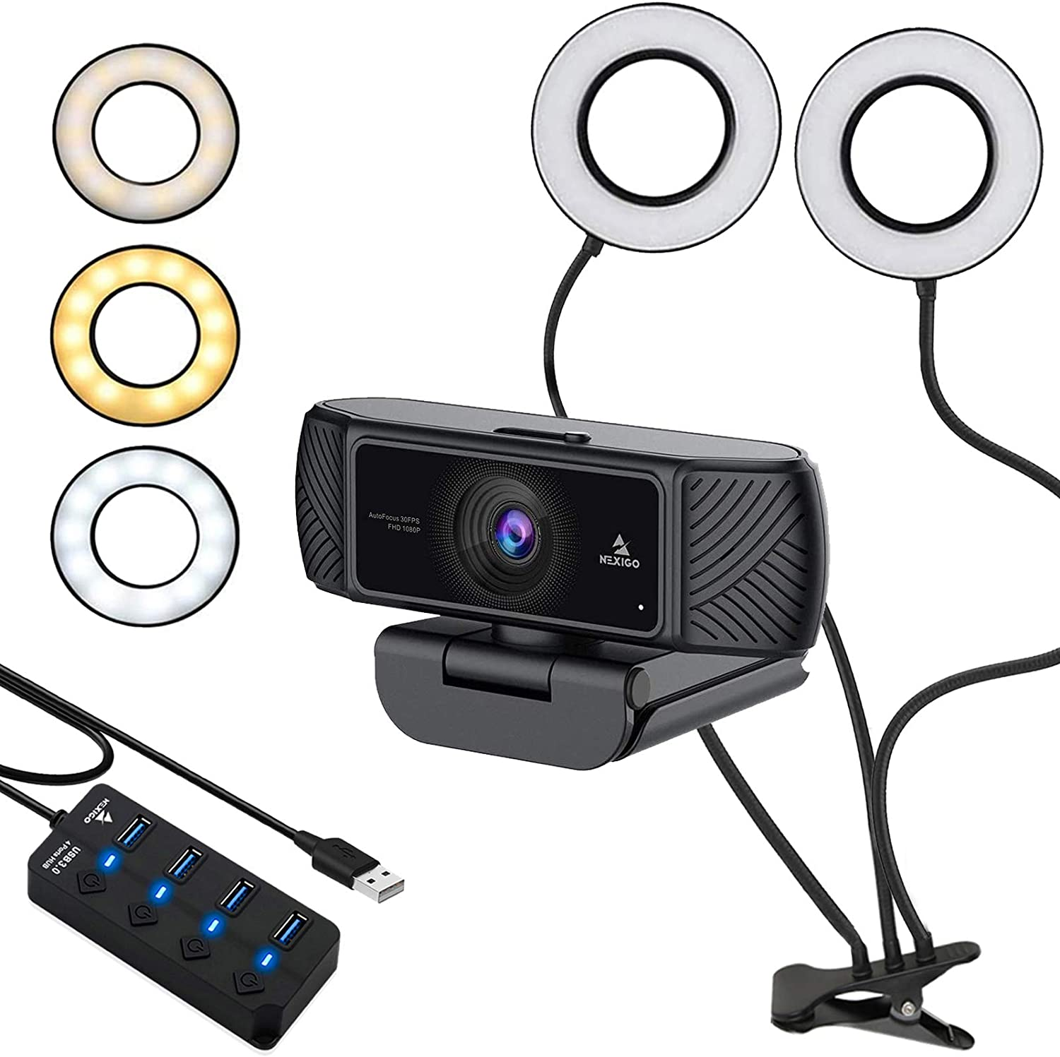 1080P Business Webcam with 2ft USB Hub Switch, Microphone, Dual 3.5 Inch Selfie Ring Light, Mount Stand, and Privacy Cover, for Streaming Online Class, Zoom Skype MS Teams, PC Mac Laptop Desktop