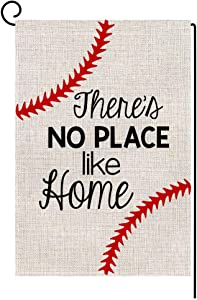 Baseball Small Garden Flag Vertical Double Sided 12.5 x 18 Inch Burlap Yard Outdoor Decor (No Place Like Home)
