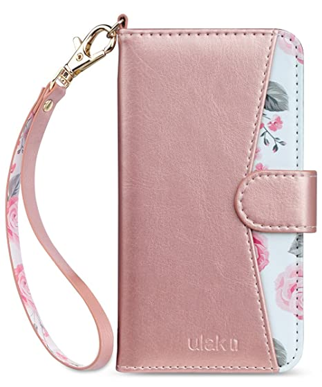 official photos 3c8fa 35541 ULAK iPhone 8 Plus Case, iPhone 7 Plus Wallet Case, Floral PU Leather  Wallet Case with Card Holders Kickstand Hand Strap Shockproof Protective  Cover ...