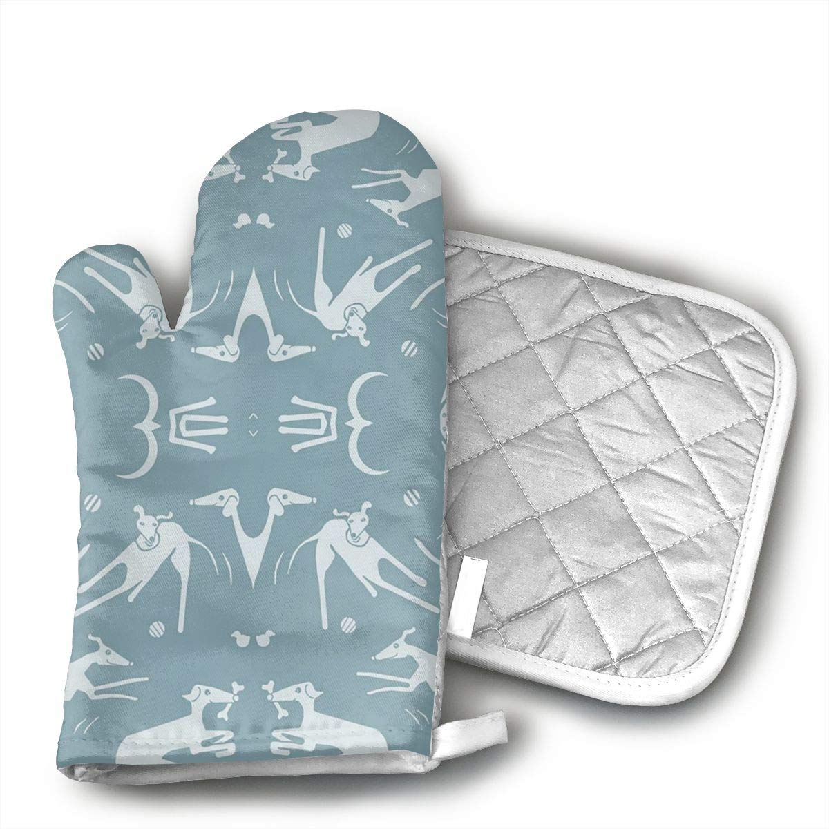 Whippet Greyhound Blue Oven Mitts And BBQ Gloves Pot Holders, Heat Resistant Mitts For Finger Hand Wrist Protection With Inner Lining, Kitchen Gloves For Grilling Machine Baking Grilling With Non-Slip