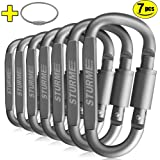 STURME Carabiner Clip Aluminum D-Ring Locking durable Strong and Light Large Carabiners Clip Set for Outdoor Camping Screw Gate Lock Hooks Spring Link Improved Design Pack (7 PACK)