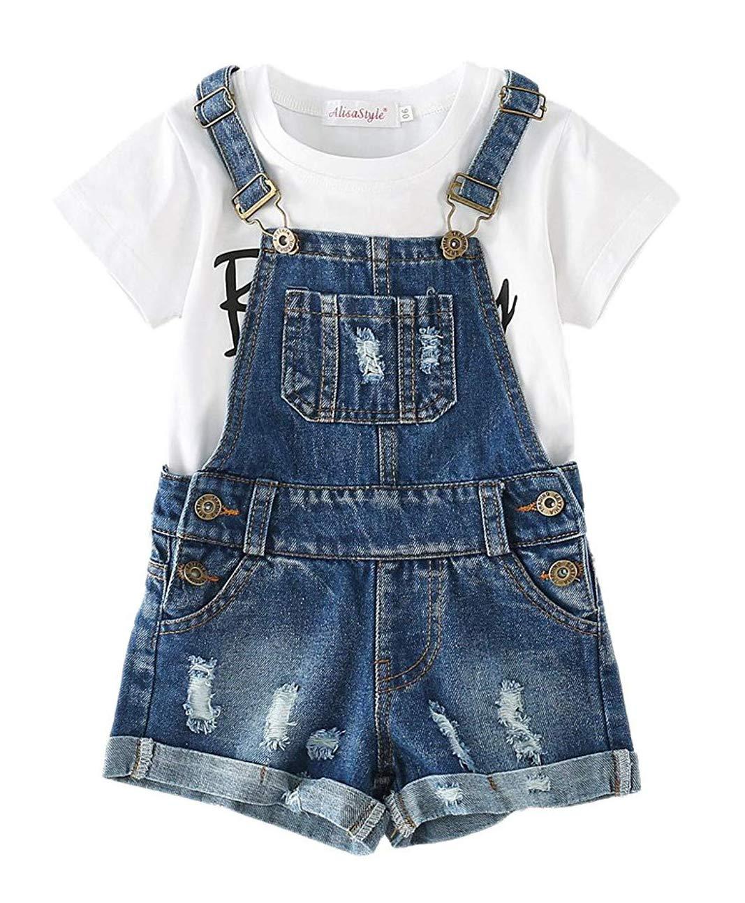 Sitmptol Big Girls Kid Denim Jumpsuit Boyfriend Jeans Denim Romper Shortalls Bib Overalls 18Sep09-11
