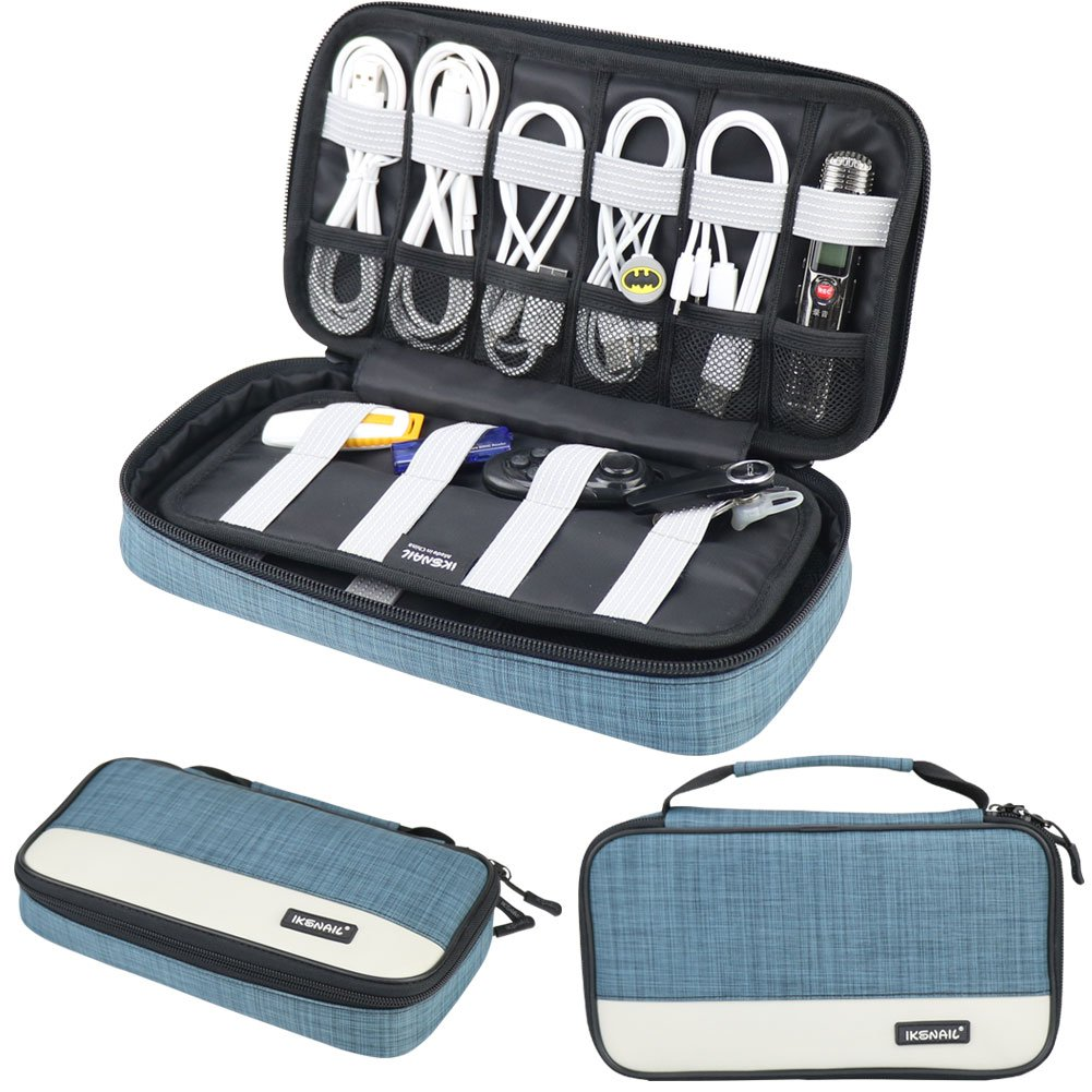 Universal Cable Organizer, Travel Electronics Accessories Carrying Bag, Portable Storage Case for USB Cables, Earphone, Charger, Power Bank, SD Card, Hard Drive, Kindle, Blue