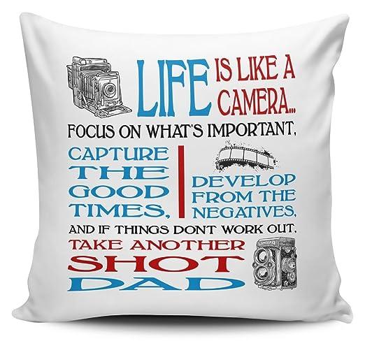 La vida es como una cámara Papá cojín con interior/insertar ...