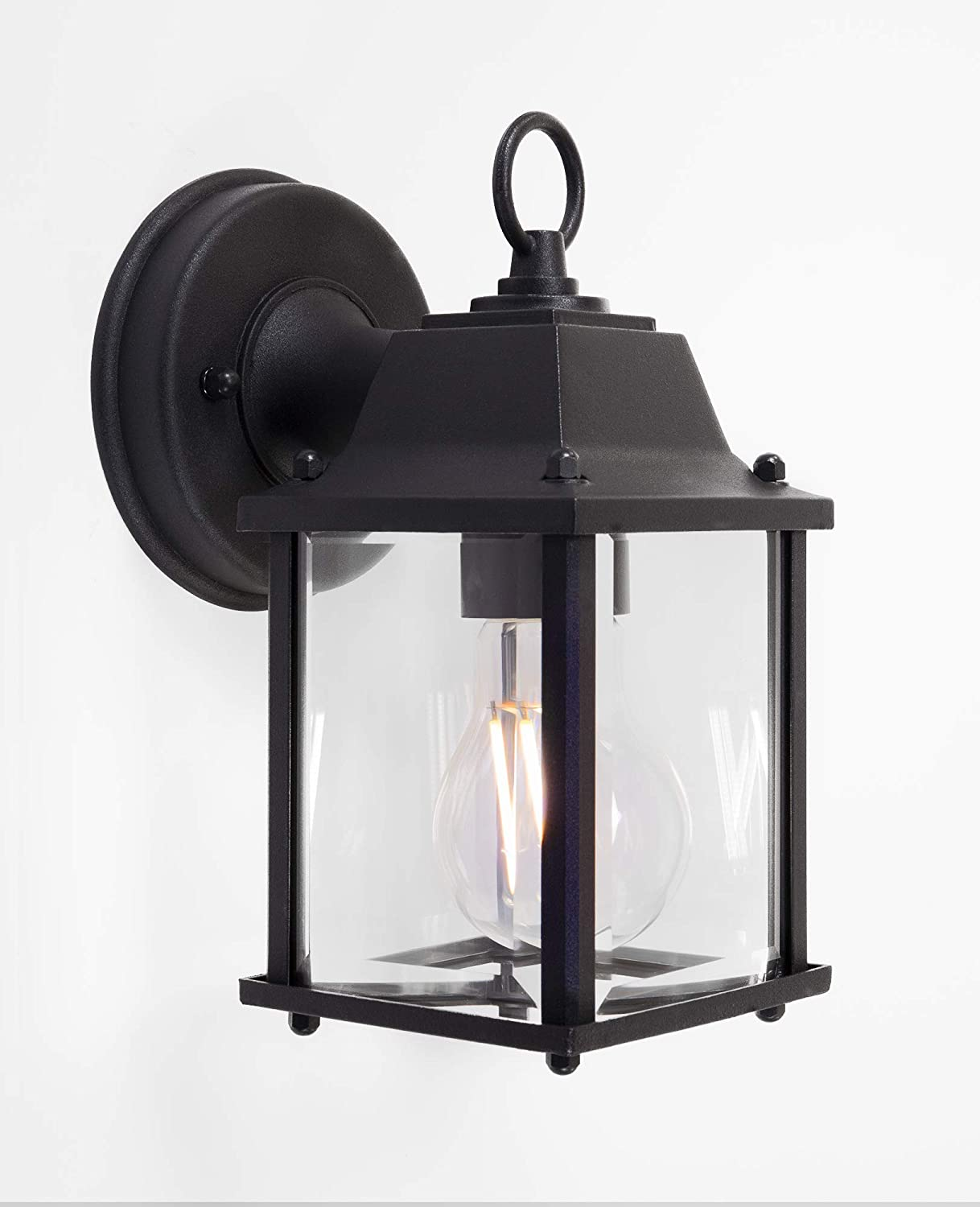 CORAMDEO Outdoor Wall Porch Light, Wall Sconce for Porch, Patio, Deck and More, E26 Medium Base Socket, Suitable for Wet Location, Black Powder Coat Cast Aluminum with Beveled Glass