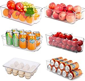 Refrigerator Pantry Organizers, Oflywe 6 Pack Large Clear Plastic Food Storage Bin with Handle for Pantry, Cabinets, Freezer, Kitchen, Counter Tops Organization and Storage, BPA-Free