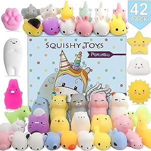 POKONBOY 42 Pcs Mini Mochi Squishies Toys, Mochi Squishy Toy Stress Reliever Toys Party Favors for Kids Boys Girls Christmas