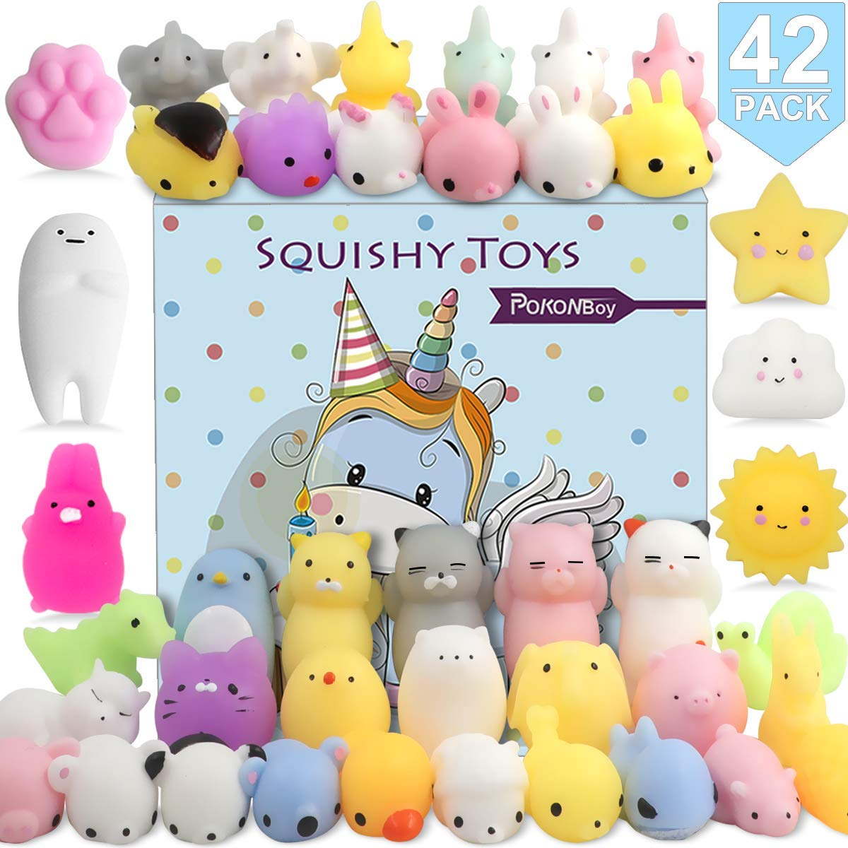 POKONBOY 42 Pack Mochi Squishy Toys Squishies, Cat Panda Unicorn Squishy Mini Kawaii Squishies Birthday Party Favors Cute Animals Stress Relief Toys Carnival Prizes for Kids Boys Girls Adults by POKONBOY