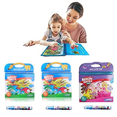 3 pièces Livres à colorier, KENROLL réutilisable Magic Water Book Pad de dessin avec stylo à eau rechargeable pour les enfants tout-petits peinture d'apprentissage