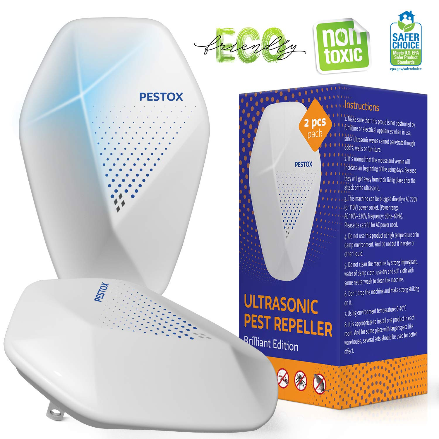 Ultrasonic Pest Repeller - 2019 New - Outdoor/Indoor Plug in Electronic Pest Repellent - 2 Pack - Get Rid of Rat Mouse Squirrel Bug Bee Cockroach Fly Spider Mosquito - Safe for Pet (2) by Pestox