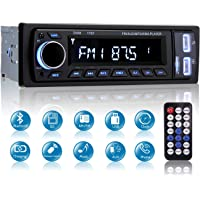 Autoradio Bluetooth, MEKUULA Radio de Voiture Stéréo Vidéo FM Radio 4x60W Poste, 1 DIN Radio de Voiture Audio USB/SD/Lecteur MP3 Récepteur Bluetooth Mains Libres avec Télécommande