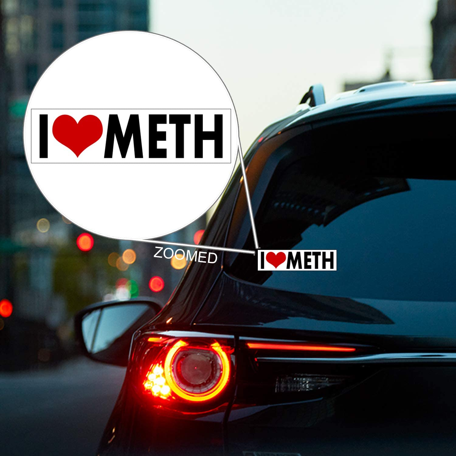 Multisurface Decal WitnyStore I Love Meth Sticker Durable and Waterproof Funny Adult Humor Sticker for Cars Trucks RVs Boats Windows Lockers and More