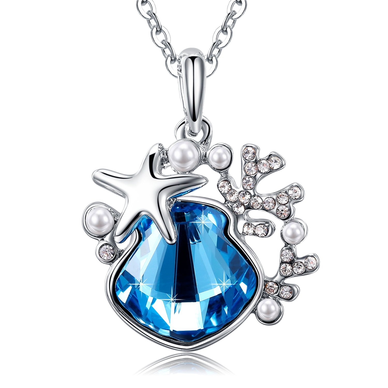 MEGA CREATIVE JEWELRY Joyería Collar Océano Secreto Azul Colgantes Mujer Estilo Swarovski