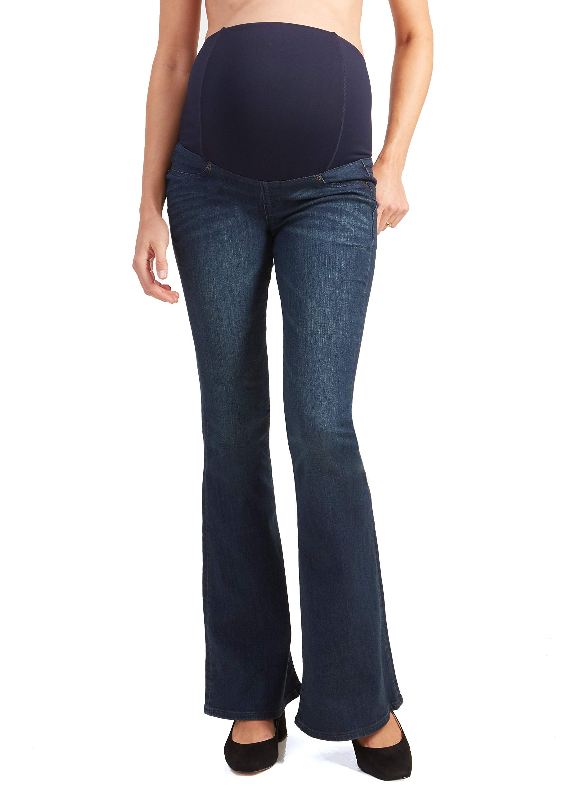 Ingrid & Isabel Womens Maternity Flare Jeans with Crossover Panel - True Blue by Ingrid & Isabel