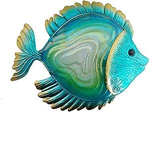 """Comfy Hour 14"""" Metal Art Ocean Fish Wall Decor Blue"""