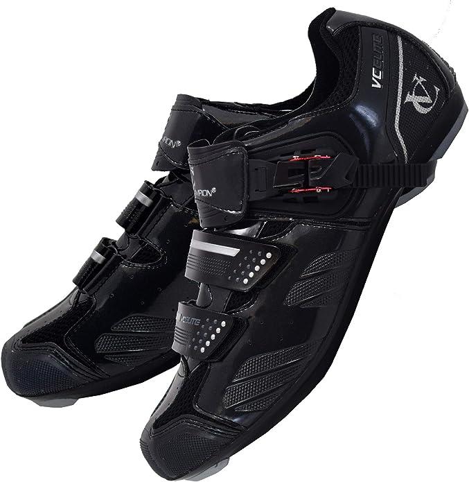 VeloChampion Zapatillas de Ciclismo Elite Road (par) Cycling Road Shoes (Black/Silver, 40): Amazon.es: Zapatos y complementos