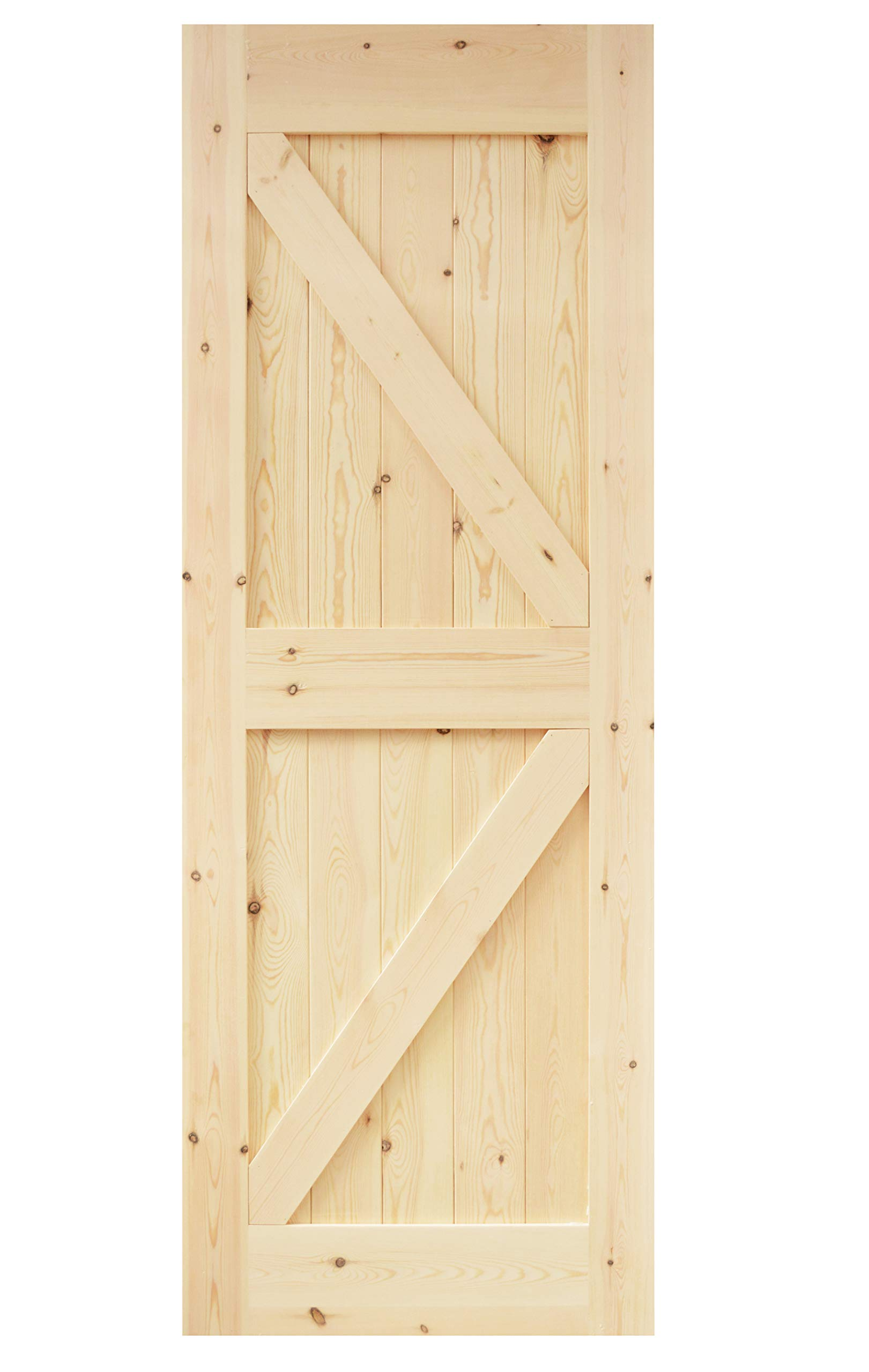 DIYHD DSX 30X84in Assembled Pine Knotty Sliding Wood Two-Side Arrow Shape Barn Door Slab (Unfinished)