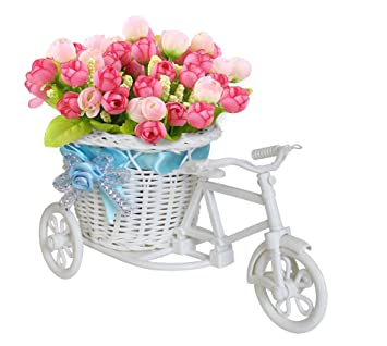 212 & TIED RIBBONS Artificial Peonies Flowers with Cycle Shape Vase Basket Pot for Living Room Home Décor and Gifts