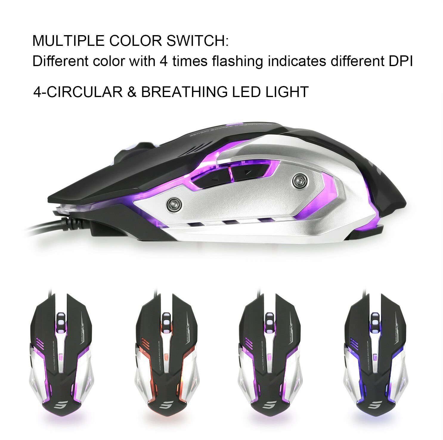 Black 4 Circular /& Breathing LED Light ATTONE Gaming mouse 6 Programmable Buttons 4 Adjustable DPI Levels Wired Mouse Used for games and office