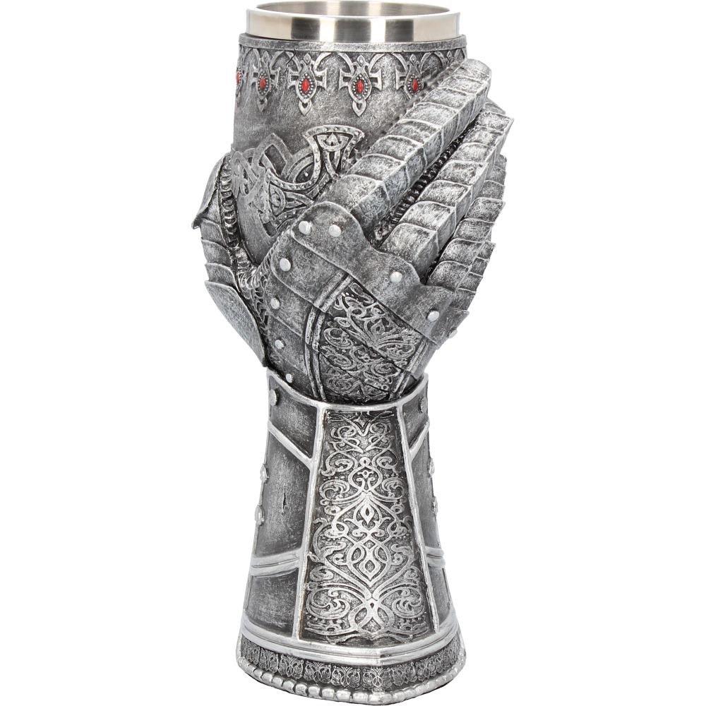 Guante medieval de caballero regalo c/áliz de resina y metal