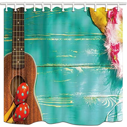 nymb music shower curtain in bath acoustic guitar on rustic turquoise wooden polyester fabric - Musical Shower Curtains