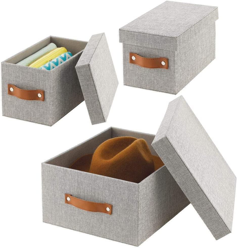 mDesign Soft Textured Fabric Home Storage Organizer Box with Handle and Lid Cover for Closet, Bedroom, Hallway, Entryway, Closets to Hold Clothing, Accessories, Set of 3 - Light Gray