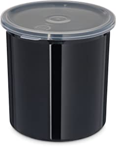 Carlisle 030103 Solid Color Commercial Round Storage Container with Lid, 1.2 Quart Capacity, Black (Pack of 12)