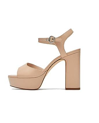 9881b5e32547 Image Unavailable. Zara Women Leather Platform high-Heel Sandals ...