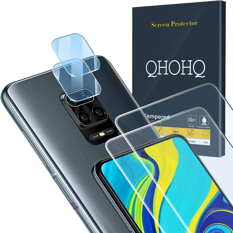 QHOHQ 2 Piezas Protector de Pantalla para Xiaomi Redmi Note 9S/Note 9 Pro/Poco M2 Pro con 2 Piezas Protector de Lente de Cámara, Cristal Templado Membrana, [9H Dureza] - HD - [Anti-Arañazos]