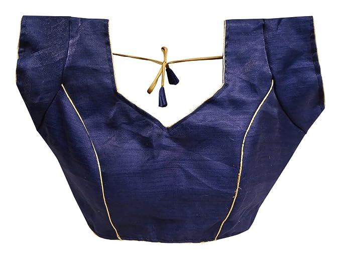 PEEGLI Blusa De Mujer Étnica Readymade Sólido Blusa Acolchada Choli Moda Sari