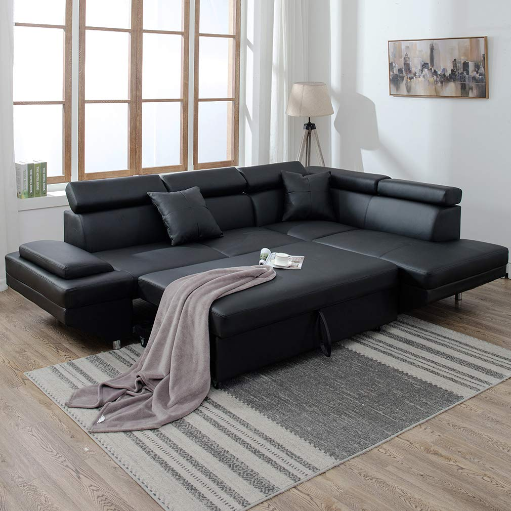 Details about 2PC Sleeper Sectional Sofa Black Faux Leather Corner Sofa Bed  Living Room Set