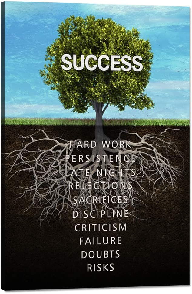 """Success Tree Wall Art Inspirational Painting on Canvas Motivation Entrepreneur Quotes Pictures Posters and Prints Artwork Modern Inspirng Office Decor Living Room Gym Decorations Framed (12""""Wx18""""H)"""
