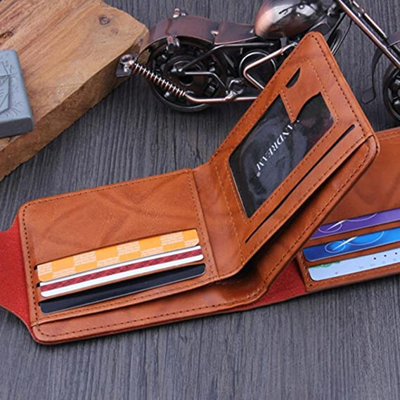 Man Wallet Small Leather Wallets Fashion Purse Black for Gentlemen by TOPUNDER Q at Amazon Mens Clothing store: